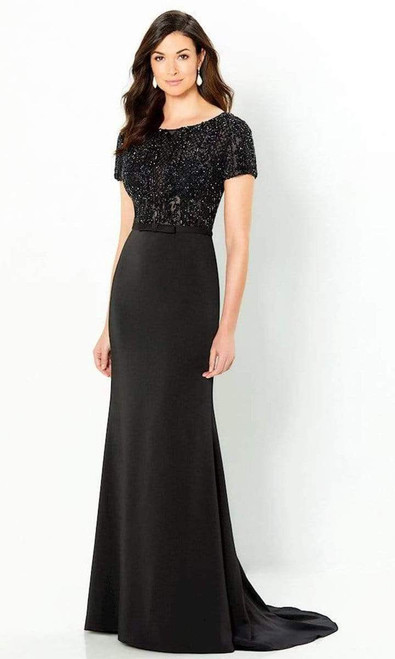 Montage by Mon Cheri 220938 Short Sleeve Beaded Sheath Gown