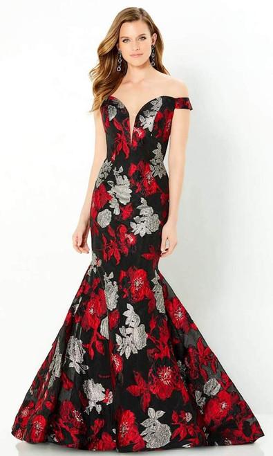 Montage by Mon Cheri 220952 Brocade Deep Off-shoulder Gown