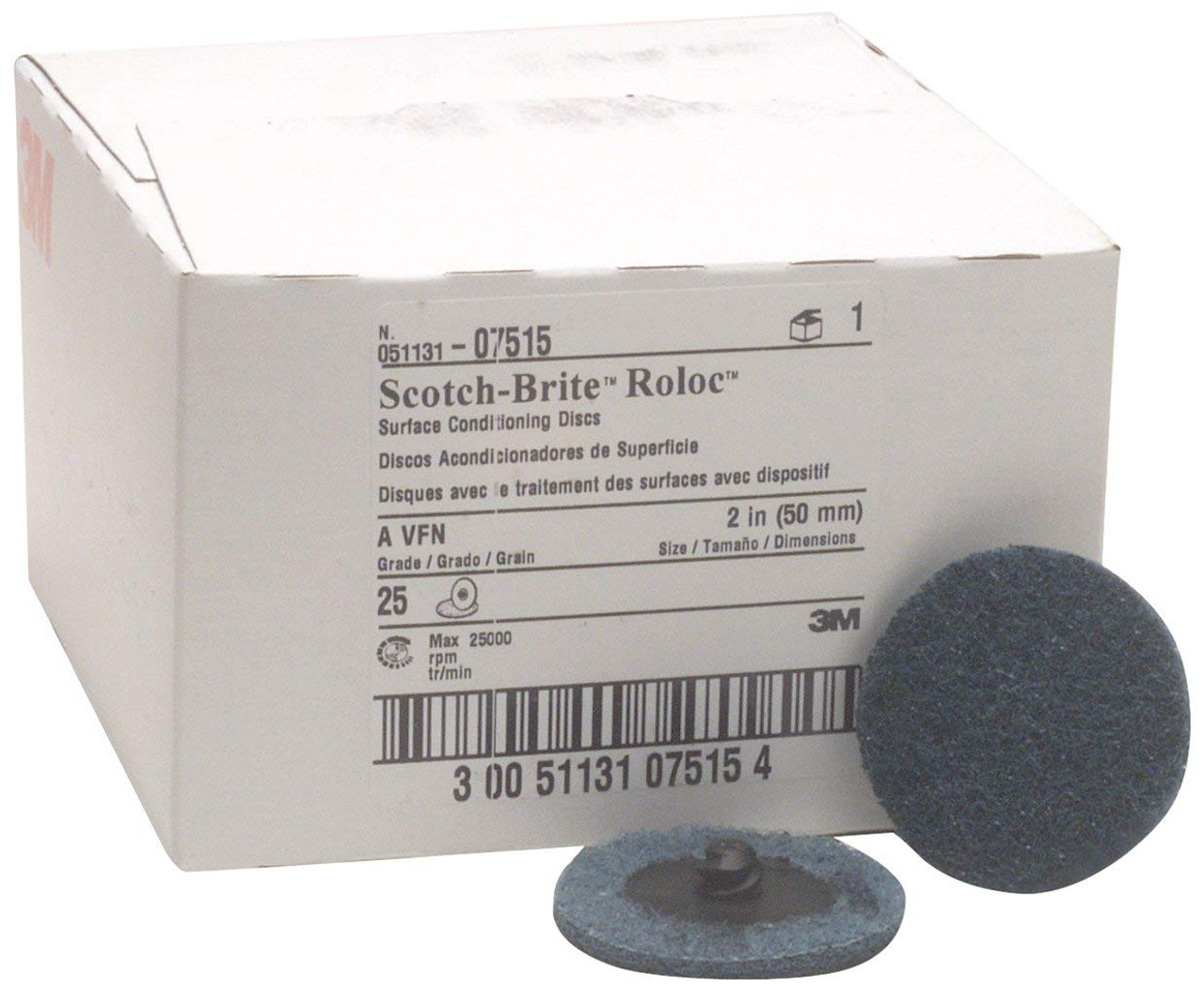 3M 50mm Very Fine Scotch Brite Roloc Blue Surface Conditioning Discs - Pack  of 25 3M 07515