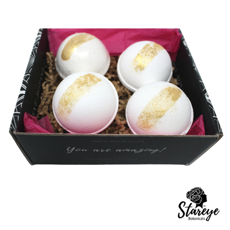 Stareye Botanicals Bundle Box—Immersible. 4 pack of Hemp and botanical bath bombs. Each bath bomb contains 100mg CBD.