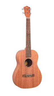 EU100S 1880 Ukulele Co. - 100 Series. Soprano. Solid $169.00 **  mahogany top, mahogany back and sides. Arched  back. Bound okume neck with black walnut fingerboard  and pearloid dot inlays. Pearl inlaid soundhole  rosette. Black walnut bridge. Graph Tech Canada,  NuBone XB compensated saddle and bone nut.  Chrome Waverly style open gear machine heads.  Aquila strings. 15 nickel frets. 346mm scale.  Black printed display box. Natural open pore