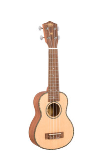 EU200S 1880 Ukulele Co. - 200 Series. Soprano. $199.00 *  Solid spruce top, mahogany back and sides.  Arched back. Black walnut with pearl top  binding and black walnut back binding. Okume  neck with black walnut fingerboard and pearloid  dot inlays. Pearl inlaid soundhole rosette. Black  walnut bridge. Graph Tech Canada, NuBone  XB compensated saddle and bone nut. Chrome  Waverly style open gear machine heads. Aquila  strings. 15 nickel frets. 346mm scale. Black printed  display box. Natural satin