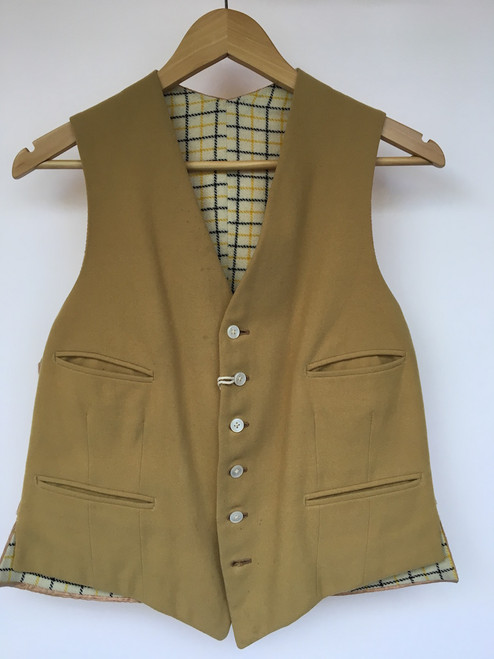 Vintage Gold Waistcoat WithTattersall Lining, 38""