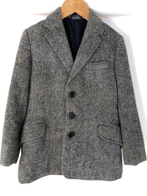 Children's blue vintage tweed coat by Rosette, 26""