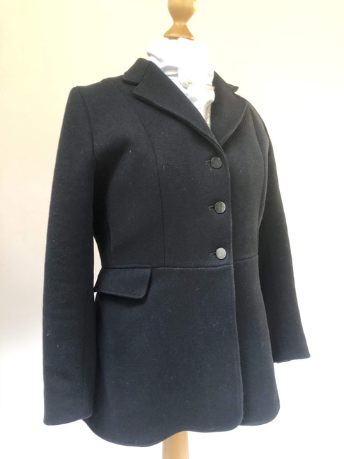 "Secondhand ladies's black hunting coat, 40""."