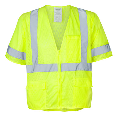Ironwear Safety, Class 3 Vest, Model 1294 with Zipper, 100% Polyester Mesh Fabric Lime