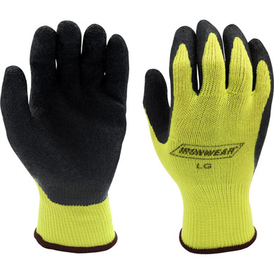 Ironwear Safety, 4830 Lime String Knit Glove, Black Latex Coated Palm
