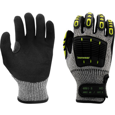 Ironwear Safety, High Impact TPR, ANSI A6 Cut Resistant, Sewn TPR