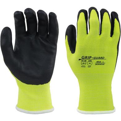 Cut Resistant ANSI A4, High Visibility Lime/Black Gloves #4918, Coating Excellent Grip-Dozen