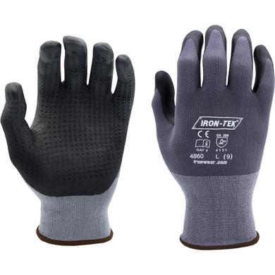 Iron-Tek Series Gloves #4861, Foam Nitrile Coating Dotted, Offers Excellent Grip in Wet Conditions, EN388 4131-Dozen