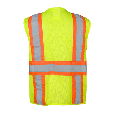 Ironwear Safety, ANSI Class 2 Vest 1287 with Zipper, 100% Polyester Mesh Fabric Lime