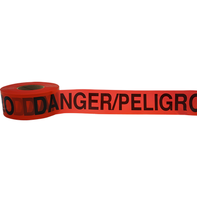 Red Barrier Tape, 2.5 Mil, 1000 Feet Per Roll, Printed: Danger/Peligro