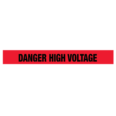 Red Barrier Tape, 2.5 Mil, 1000 Feet Per Roll, Printed: Danger High Voltage