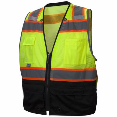 Pyramex Safety, RVZ44B Type R Class 2 Surveyor Black Bottom Safety Vest - Lime