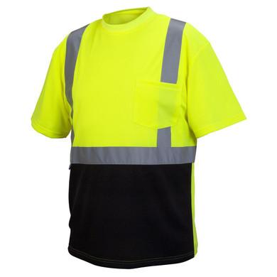 Pyramex Safety, RTS21B Type R Class 2 Black Bottom Safety Shirt - Lime