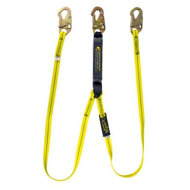 Guardian 01230 6' Shock Absorbing Lanyard Double Leg with Snap Hooks
