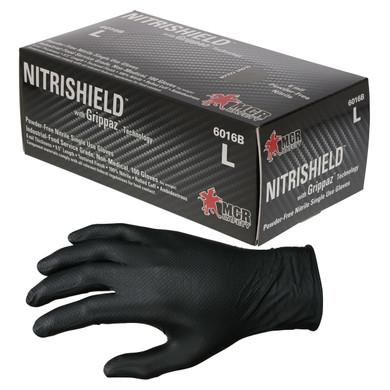 MCR Safety 6016B NitriShield Disposable Nitrile Gloves w/ Grippaz Technology, 6 mil Powder Free-Black