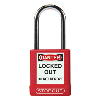 STOPOUT® Plastic Body Aluminum Padlocks With Hardened Steel Shackle-Red