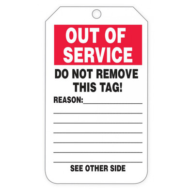Safety Tags By-The-Roll: Out Of Service