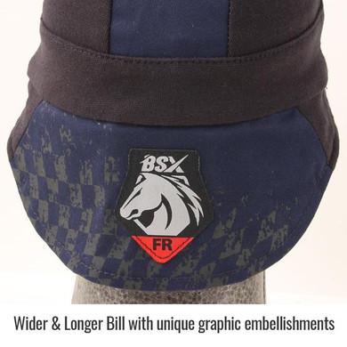 AH1631-NB BSX® Silicone Grip FR Cotton Welding Cap, Navy & Black