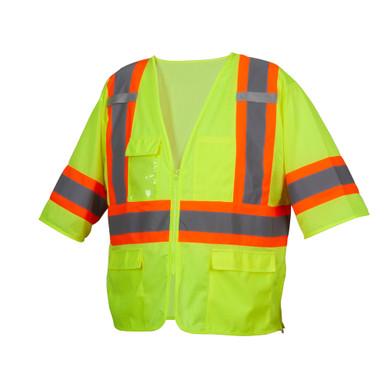 Pyramex RVZ3610 Type R Class 3 Two-Tone Surveyor Safety Vest - Yellow/Lime