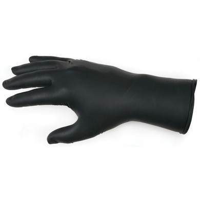 Seattle Glove FT551 Disposable Black Nitrile Gloves w/ Texture Tips