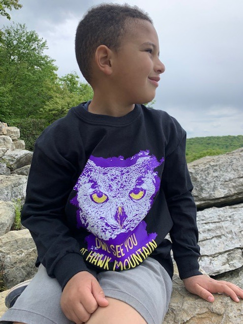 Great Horned Owl Youth *Glow-in-the-Dark* Long-sleeve tee