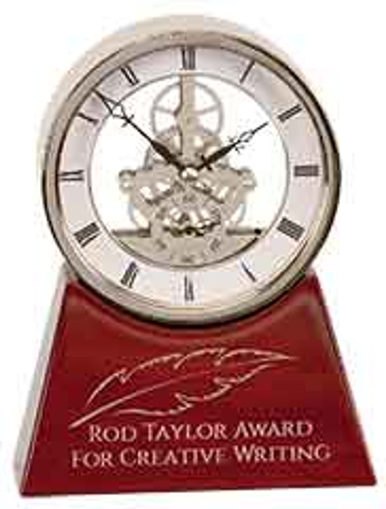 Silver and Rosewood Executive Clock