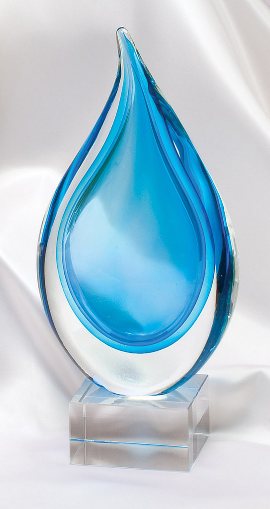 Light Blue and Clear Tear Drop