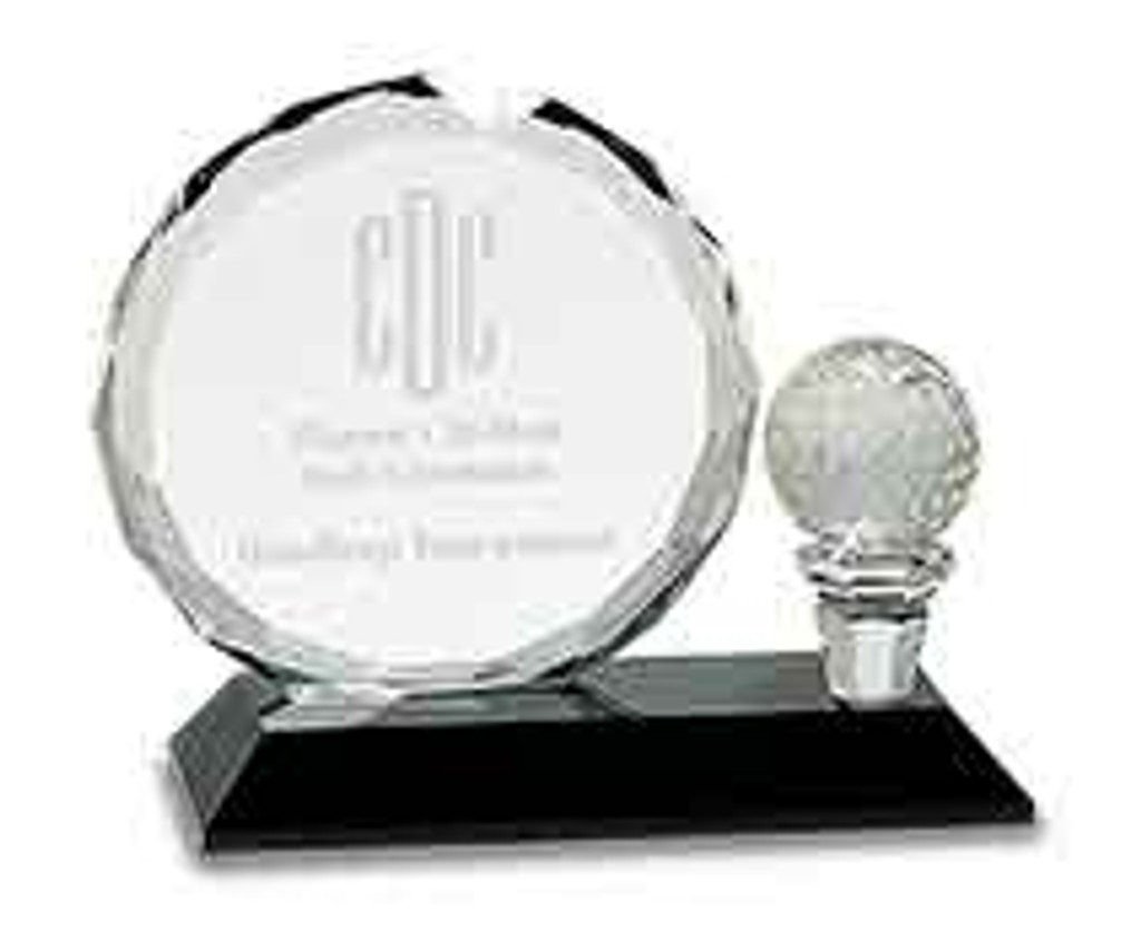 Round Facet Crystal Golf Award