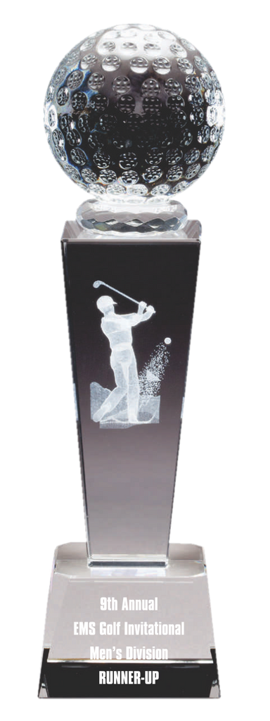 Crystal Golfer With 3D Image