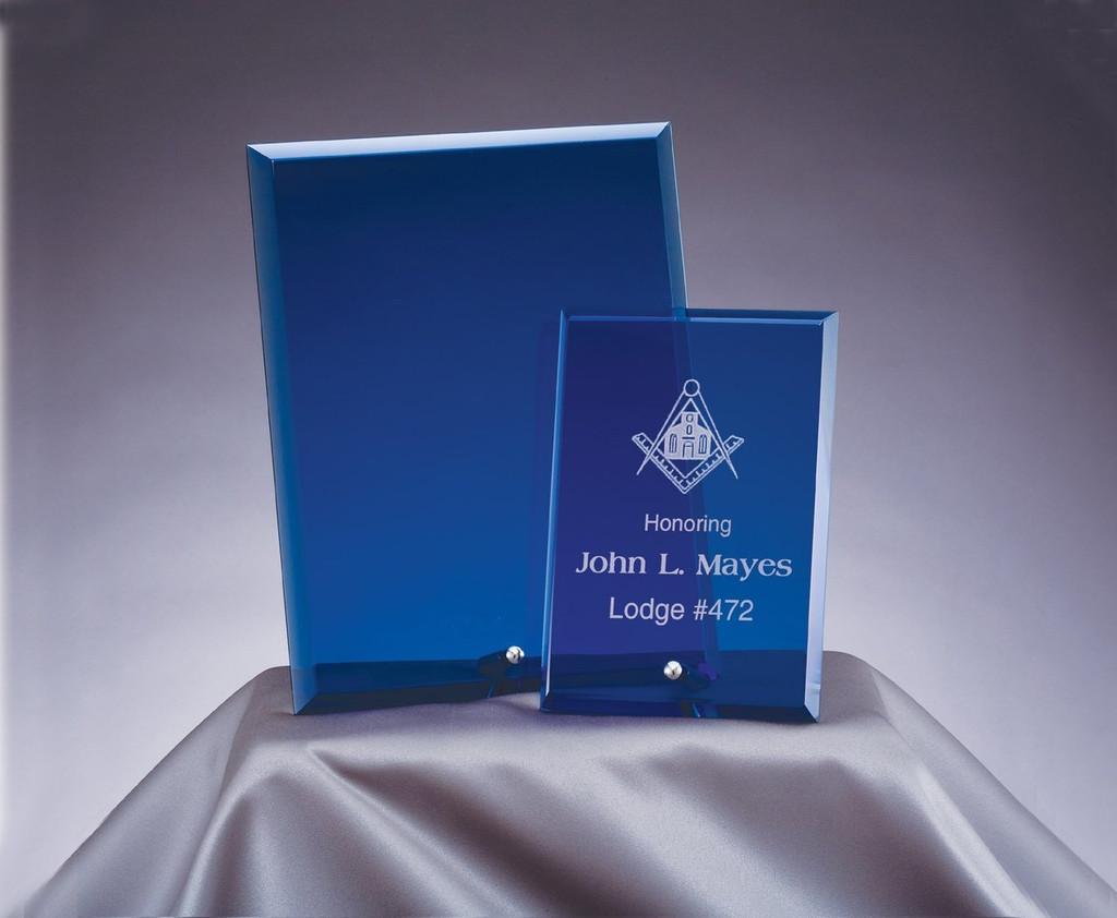 Blue Standing Glass Plaque