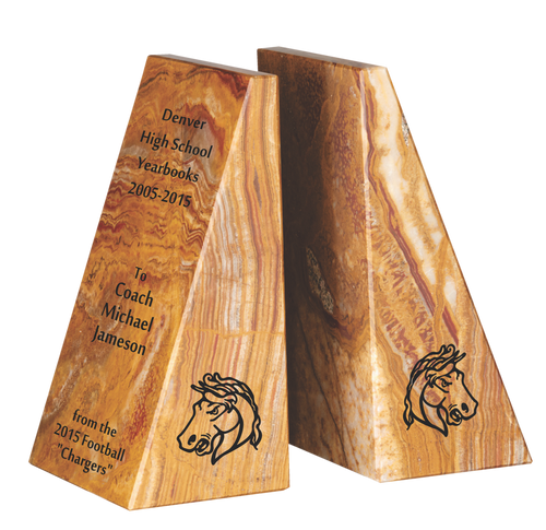 Tan Marble Bookends