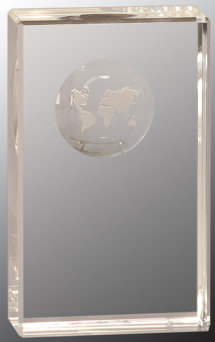 Crystal Rectangle Etched Globe Award