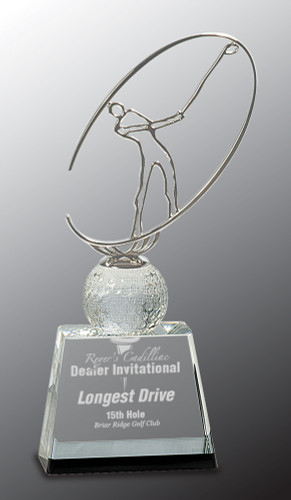 Crystal Metal Golf Award