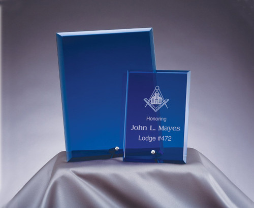 Blue Standing Glass Plaque