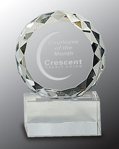 Diamond Facet Round Crystal Award