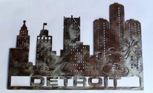 Detroit Cityscape Metal Cutout Sign