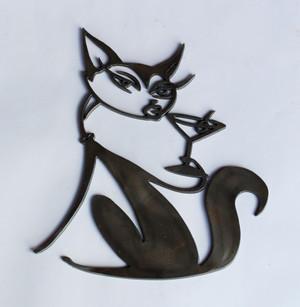 Martini Cat Metal Cutout Sign
