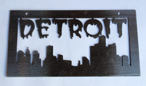 Medium Detroit Cityscape Metal Cutout Sign