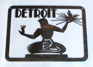 Spirit Of Detroit Statue Metal Cutout Sign