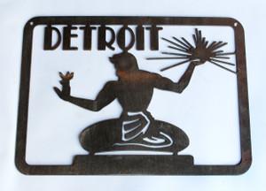 Spirit Of Detroit Statue Metal Cutout Sign