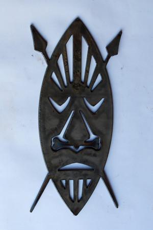 Oval Tiki Mask Metal Cutout Sign