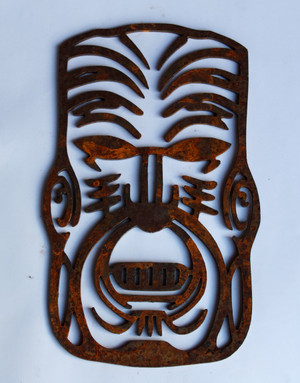 Rusty Tiki Mask Metal Cutout Sign