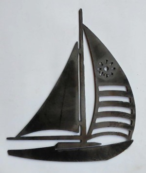 Sailboat Metal Cutout Sign