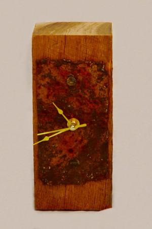 Barn Wood Clock With Rusty Metal Plate