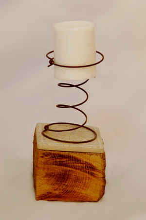 Spring Candle Holder on Barn Wood Base