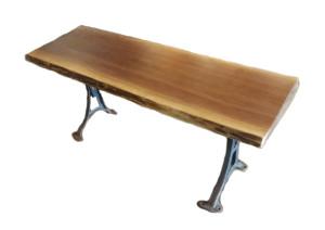 Live Edge Black Walnut Bench with adjustable cast iron legs