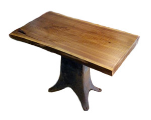 Black Walnut Live Edge Side Table with Chunky Industrial Base