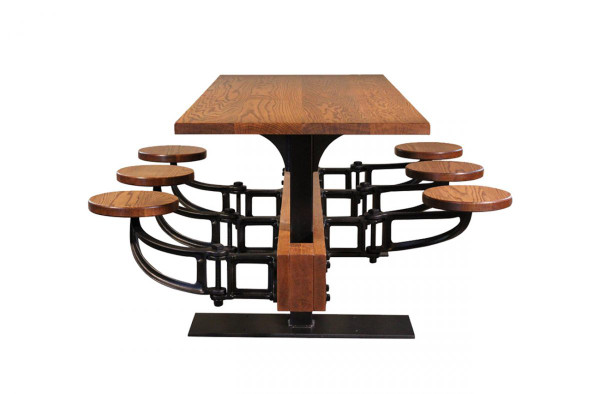 Industrial Table with Metal Base and Swivel stools